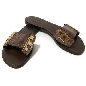 TORY BURCH Sandals Slides Flats Brown Gold Reptile